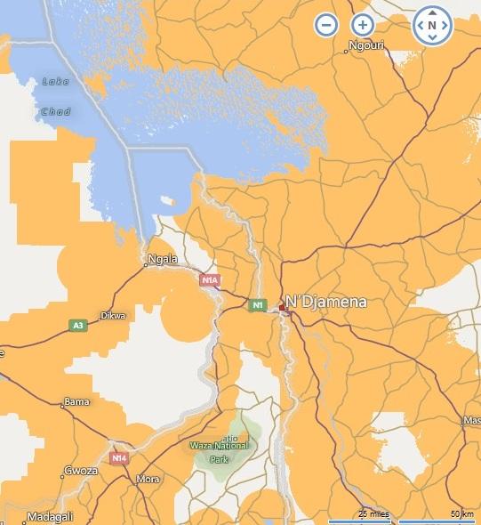 A GSM hálózat Csád-tó és a Waza Nemzeti Park térségében.