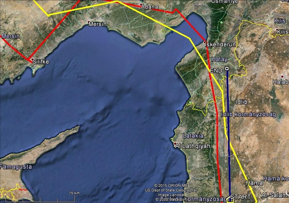 Dalmára (kékkel jelölve) ma Iskenderuni-öböl feletti átkelés vár, Veca (sárgával jelölve) és Varbó (pirossal jelölve) már korábban átrepülte
