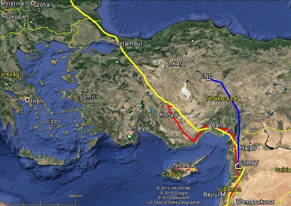 Dalma (kékkel jelölve) a többiektől nagyon eltérő úton halad Törökországban hazafelé, Veca (sárgával jelölve) és Varbó (pirossal jelölve) szokásos útvonalon haladtak