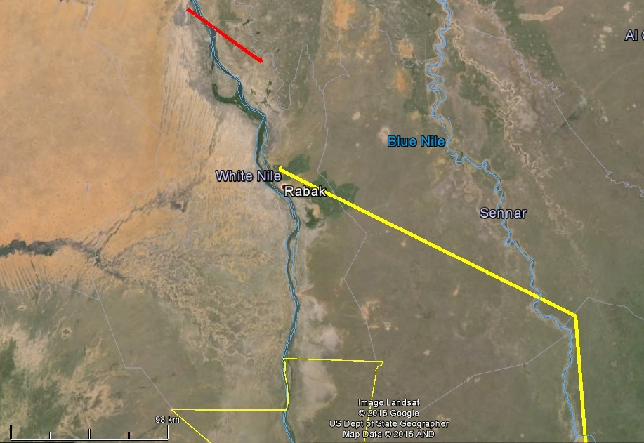 Horka és Dalma helyzete 2015.03.17-18-án (Dalma pirossal, Horka sárgával jelölve)