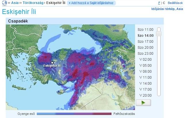 Csapadékzóna a Márvány-tenger felett 2015. március 21. (forrás: foreca.hu)