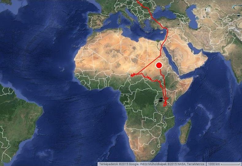 Horka útvonala tavaly, jeladója 2015.03.23-án elhallgatott (forrás: satellitetracking.eu)
