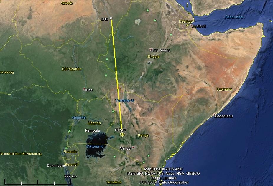 Horka 1400km északabbra telelőhelyétől, már a Kék-Nílus mentén halad