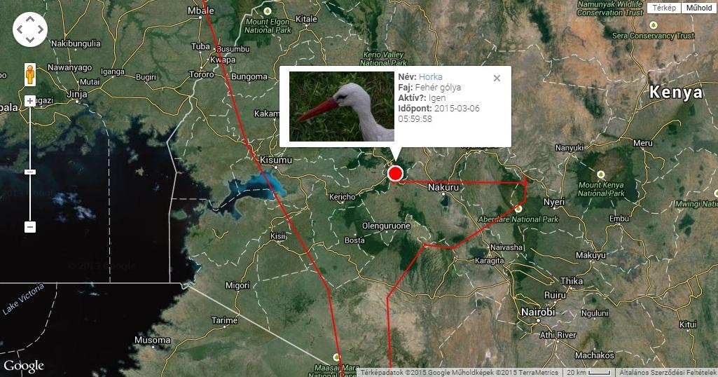 Horka telelőhelye a Kenya-hegy és Viktória-tó között az Egyenlítő mentén (forrás: satellitetracking.eu)