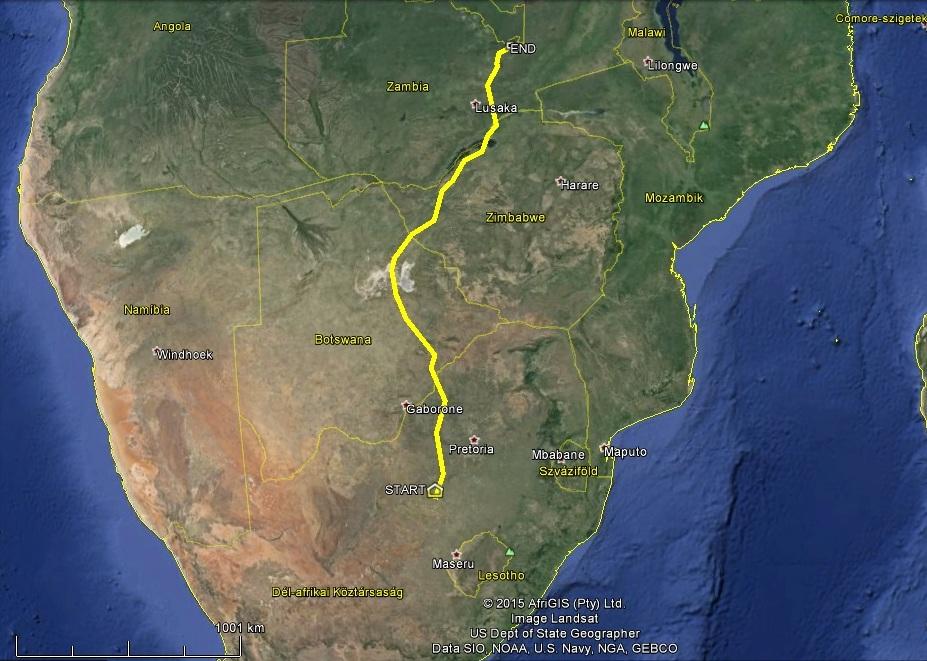 Keszi útja Dél-Afrikából Zambiába 1800km-t vonult az elmúlt két hétben
