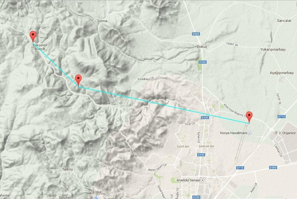 Varbó előbújt a hegyekből és visszafelé délkeletnek repülve Konya városánál érte el az Anatóliai – magasföldet