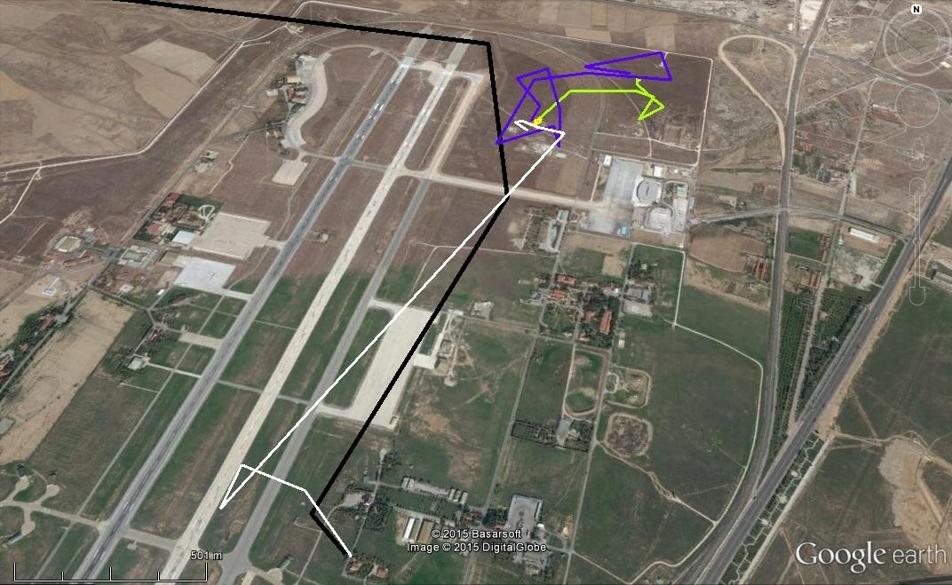 Varbó mozgása a repülőtéren Konyába március 22-27-én, a különböző napok külön színnel jelölve