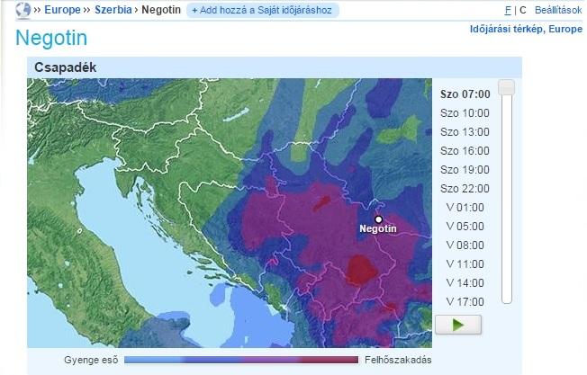 A csapadékzóna a Balkánon 2015. március 27-28-án (forrás: foreca.hu)