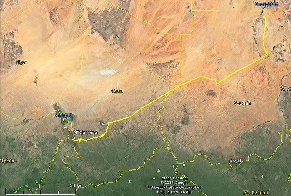 A Logone folyó menti telelőhelytől a Nílusig, több mint 2000km tett meg Varbó