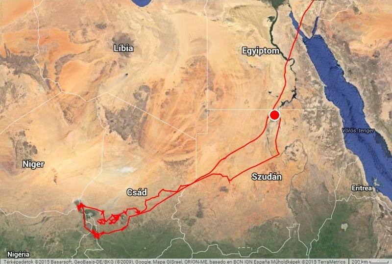 Varbó afrikai útja 2014-2015 (forrás: satellitetracking.eu)