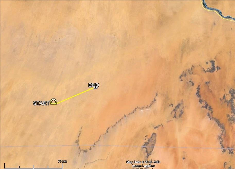 Varbó jeladójának szaharai adatai 2015.02.23-24-én, mozgása a Nílus kékszalagja felé északkeleti irányba mutat.