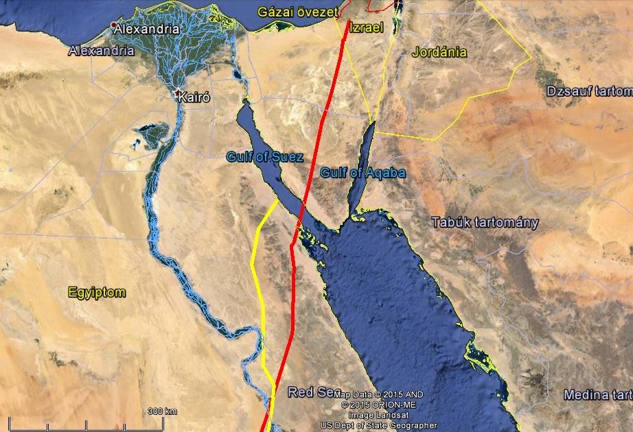 Varbó Izraelben (pirossal jelölve), Veca a Vörös-tenger partján tartott kényszerpihenőt (sárgával jelölve)