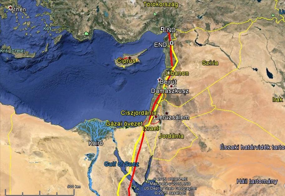 Varbó (pirossal jelölve), és Veca (sárgával jelölve) már a biztonságos Törökországban március 16-án