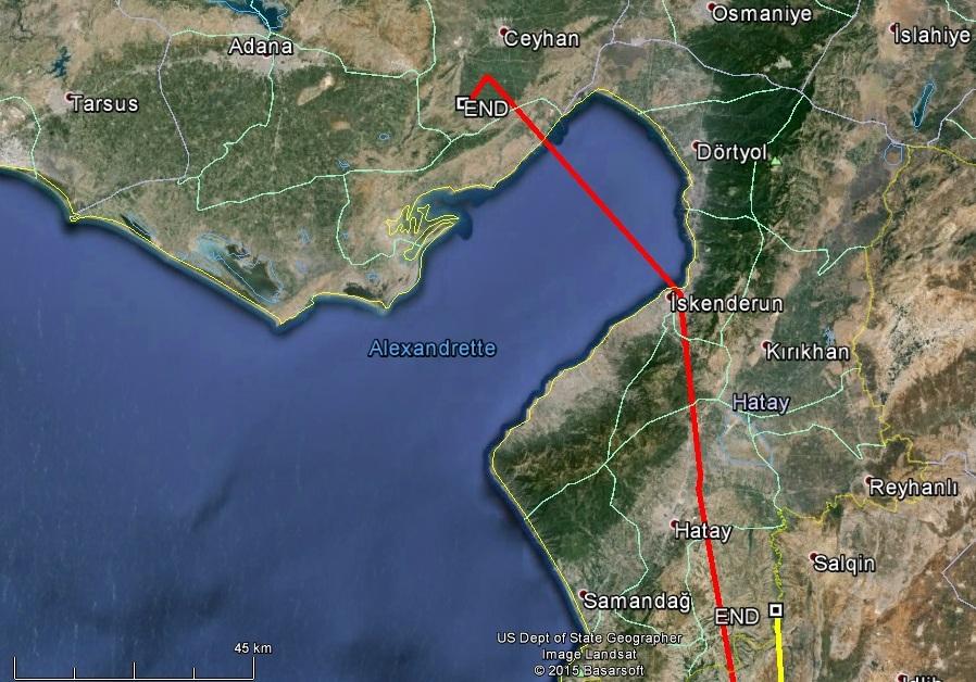 Varbó már az Öböl túl partján (pirossal jelölve), és Veca (sárgával jelölve) még előtte
