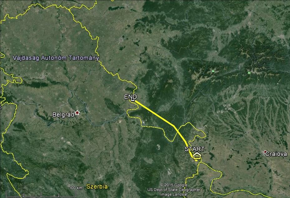 Veca éppen csak túljutott a Kárpátok bércein, összesen 125km repült 2015. március 30-án