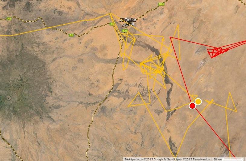 Veca és Picur egymás mellett aludt Szudánban 2014.11.14-én (forrás: satellitetracking.eu)