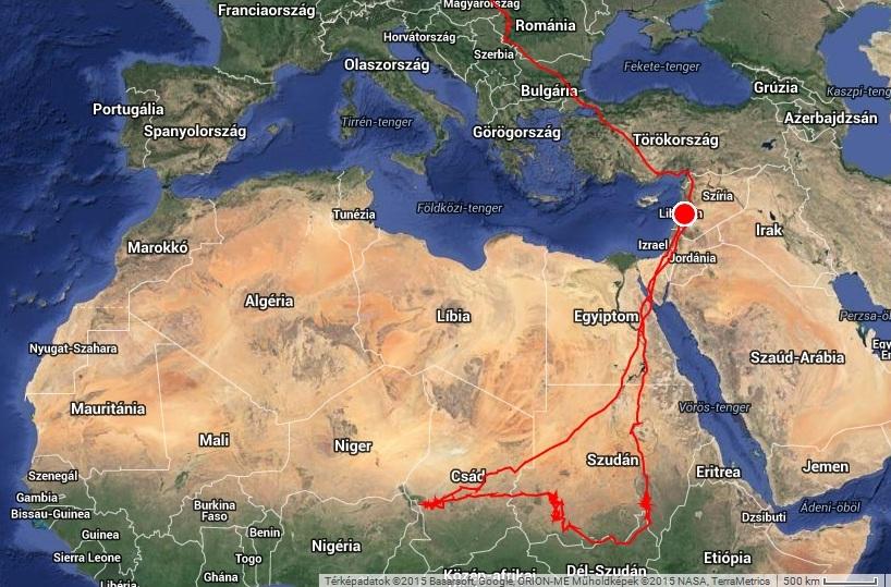 Veca vonulásának térképe 2015. március 15. (forrás: satellitetracking.eu)