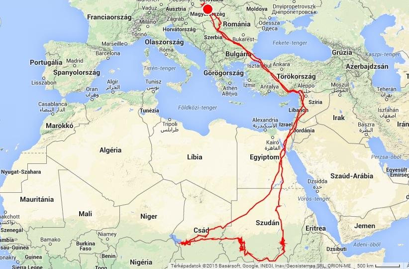 Veca összes pozíciója 2014.06.20-ai elengedésétől (forrás: satellitetracking.eu)