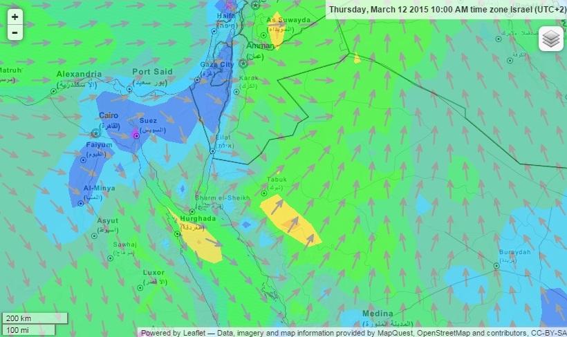 Kedvezőtlen szélviszonyok a térségben (forrás: windfinder.com)