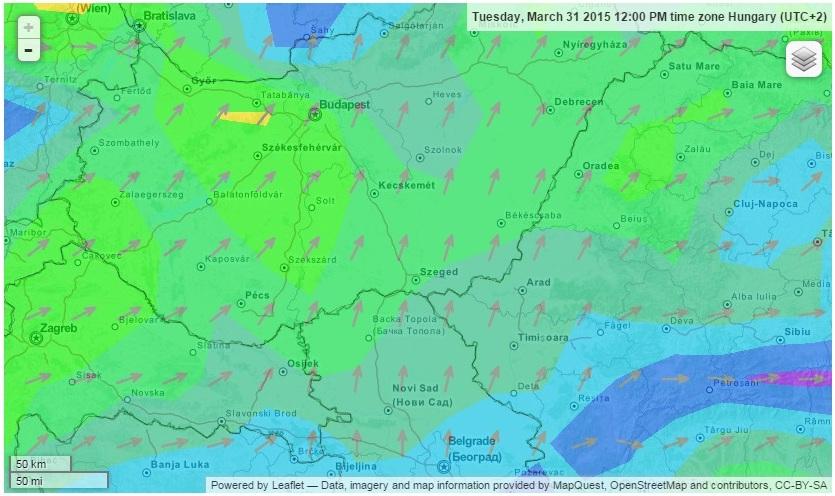 Kedvező délies szél segítette hazafelé Vecát (forrás: windfinder.com)